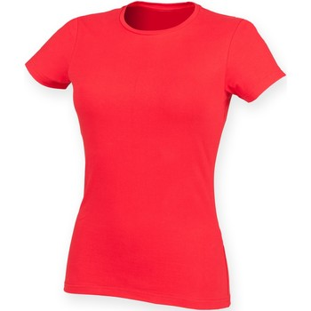 Textiel Dames T-shirts korte mouwen Skinni Fit Stretch Helder rood