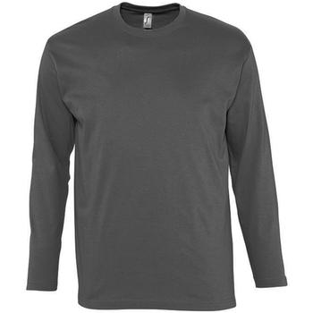 Textiel Heren T-shirts met lange mouwen Sols Monarch Donkergrijs