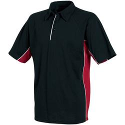 Textiel Heren Polo's korte mouwen Tombo Teamsport Pique Zwart/rood/witte leidingen