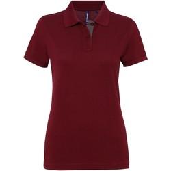 Textiel Dames Polo's korte mouwen Asquith & Fox Contrast Bourgogne/Houtskool