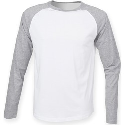 Textiel Heren T-shirts met lange mouwen Skinni Fit Baseball Wit / Heide Grijs