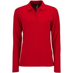Textiel Dames Polo's lange mouwen Sols Pique Rood