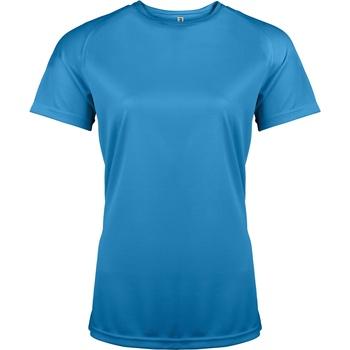 Textiel Dames T-shirts korte mouwen Kariban Proact Performance Aqua Blauw