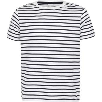 Textiel Kinderen T-shirts korte mouwen Skinni Fit Striped Witte/Oxfordse marine
