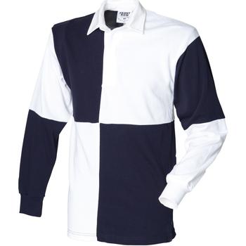 Textiel Heren Polo's lange mouwen Front Row Rugby Wit/Zwaar (Witte kraag)