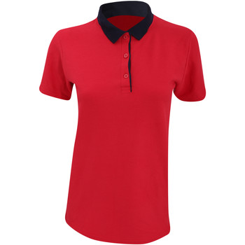 Textiel Dames Polo's korte mouwen Anvil Pique Rood/ Navy