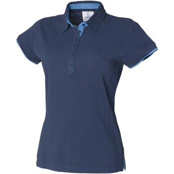 Textiel Dames Polo's korte mouwen Front Row Contrast Marine