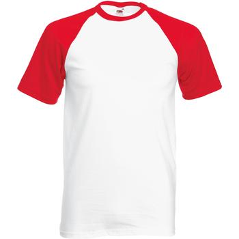 Textiel Heren T-shirts korte mouwen Fruit Of The Loom Baseball Wit/Rood