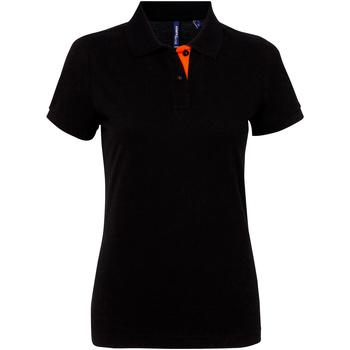Textiel Dames Polo's korte mouwen Asquith & Fox Contrast Zwart / Oranje