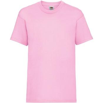 Textiel Kinderen T-shirts korte mouwen Fruit Of The Loom 61033 Licht Rose