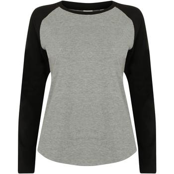 Textiel Dames T-shirts met lange mouwen Skinni Fit Baseball Heide Grijs / Zwart