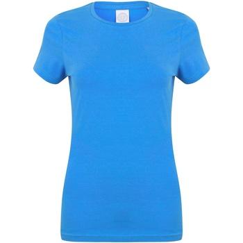 Textiel Dames T-shirts korte mouwen Skinni Fit Stretch Heideblauw