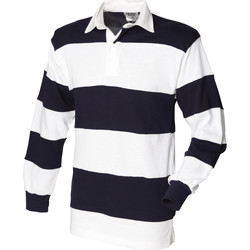 Textiel Heren Polo's lange mouwen Front Row Rugby Wit & Navy (Witte kraag)