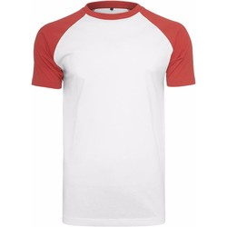 Textiel Heren T-shirts korte mouwen Build Your Brand Contrast Wit/rood