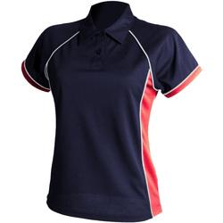 Textiel Dames Polo's korte mouwen Finden & Hales LV371 Marine / Rood / Wit