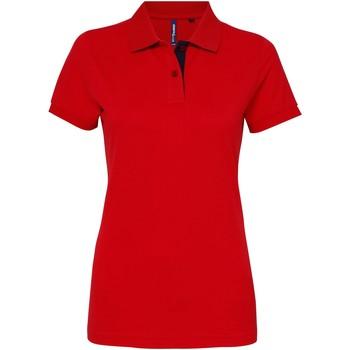 Textiel Dames Polo's korte mouwen Asquith & Fox Contrast Rood/ Navy