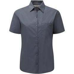 Textiel Dames Overhemden Russell Poplin Konvooi Grijs