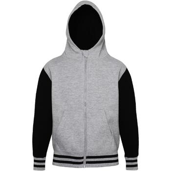 Textiel Kinderen Sweaters / Sweatshirts Awdis Varsity Heide Grijs / Jet Zwart
