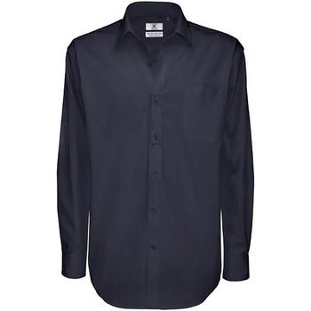 Textiel Heren Overhemden lange mouwen B And C Sharp Marine Blauw