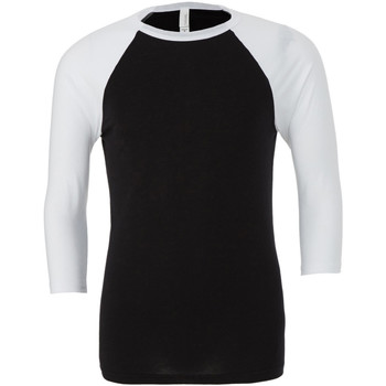 Textiel Heren T-shirts met lange mouwen Bella + Canvas Baseball Zwart/Wit