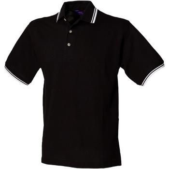 Textiel Heren Polo's korte mouwen Henbury HB150 Zwart Wit kantelen