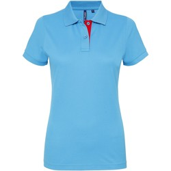 Textiel Dames Polo's korte mouwen Asquith & Fox Contrast Turquoise/ Rood