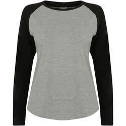 Textiel Kinderen T-shirts met lange mouwen Skinni Fit Baseball Heide Grijs / Zwart