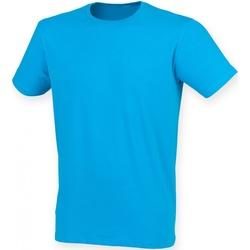 Textiel Heren T-shirts korte mouwen Skinni Fit Stretch Saffier