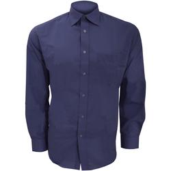 Textiel Heren Overhemden lange mouwen Kustom Kit KK104 Donkere marine