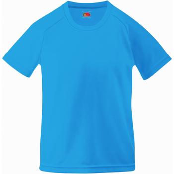 Textiel Kinderen T-shirts korte mouwen Fruit Of The Loom Performance Azure Blauw