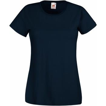 Textiel Dames T-shirts korte mouwen Fruit Of The Loom 61372 Diep Marine