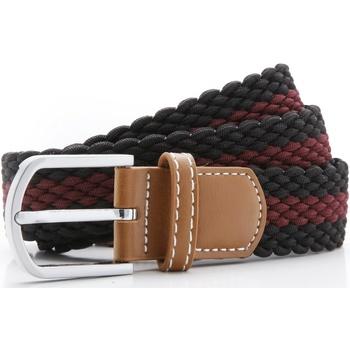 Accessoires Heren Riemen Asquith & Fox Two Colour Stripe Zwart/Bourgondië
