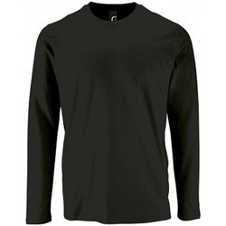 Textiel Heren T-shirts met lange mouwen Sols Imperial Diep zwart