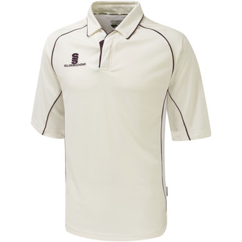 Textiel Jongens Polo's korte mouwen Surridge SU01B White/Maroen afwerking