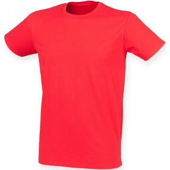 Textiel Heren T-shirts korte mouwen Skinni Fit Stretch Helder rood