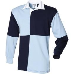 Textiel Heren Polo's lange mouwen Front Row Rugby Navy/Sky (Witte kraag)