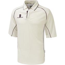 Textiel Heren Polo's korte mouwen Surridge SU001 White/Maroen afwerking