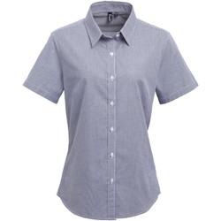 Textiel Dames Overhemden Premier Check Marine / Wit