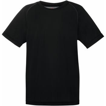 Textiel Kinderen T-shirts korte mouwen Fruit Of The Loom Performance Zwart