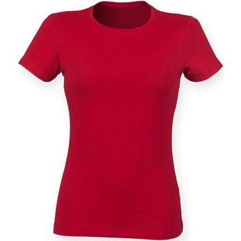 Textiel Dames T-shirts korte mouwen Skinni Fit Stretch Heide Rood