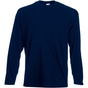 Textiel Heren T-shirts met lange mouwen Fruit Of The Loom Valueweight Donker Marine