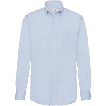 Textiel Heren Overhemden lange mouwen Fruit Of The Loom 65114 Oxford Blauw