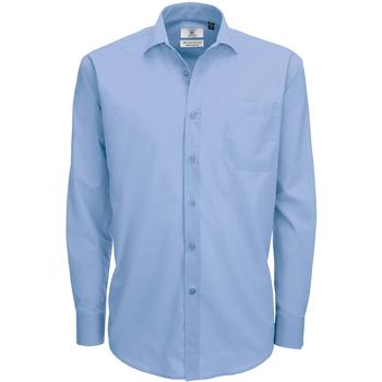 Textiel Heren Overhemden lange mouwen B And C Poplin Buisness Blauw