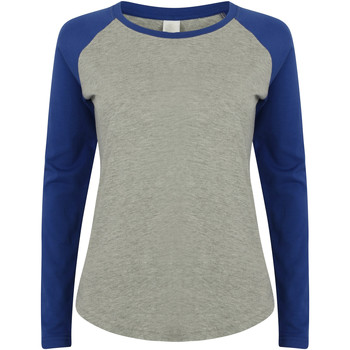 Textiel Dames T-shirts met lange mouwen Skinni Fit Baseball Heide Grijs / Koninklijk