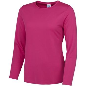 Textiel Dames T-shirts met lange mouwen Awdis Girlie Heet Roze