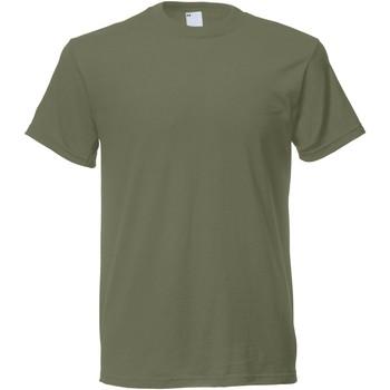 Textiel Heren T-shirts korte mouwen Universal Textiles Casual Olijfgroen