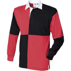 Textiel Heren Polo's lange mouwen Front Row Rugby Zwart/Rood (Witte kraag)