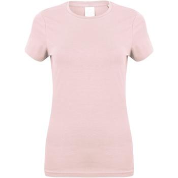 Textiel Dames T-shirts korte mouwen Skinni Fit Stretch Baby Roze