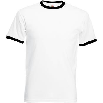 Textiel Heren T-shirts korte mouwen Fruit Of The Loom 61168 Wit/Zwart
