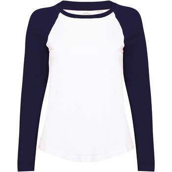 Textiel Dames T-shirts met lange mouwen Skinni Fit Baseball Wit / Oxford Navy